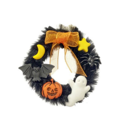 A dollhouse miniature Halloween wreath.