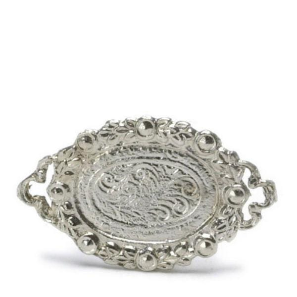 A dollhouse miniature silver tray.