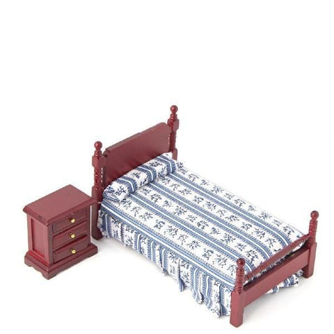 dollhouse miniature bed and nightstand
