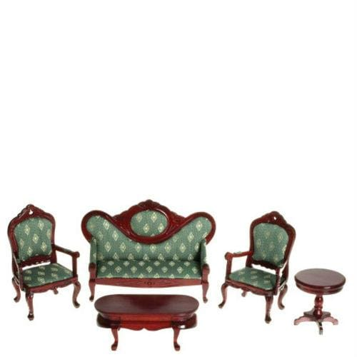 A dollhouse furniture living room set in green fabric and mahogany-stained wood.