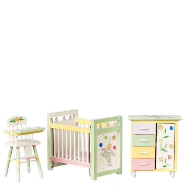 A dollhouse furniture hand-painted nursery set with a crib, high chair, and wardrobe.