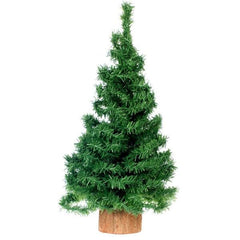 A miniature Christmas tree that is undecorated.