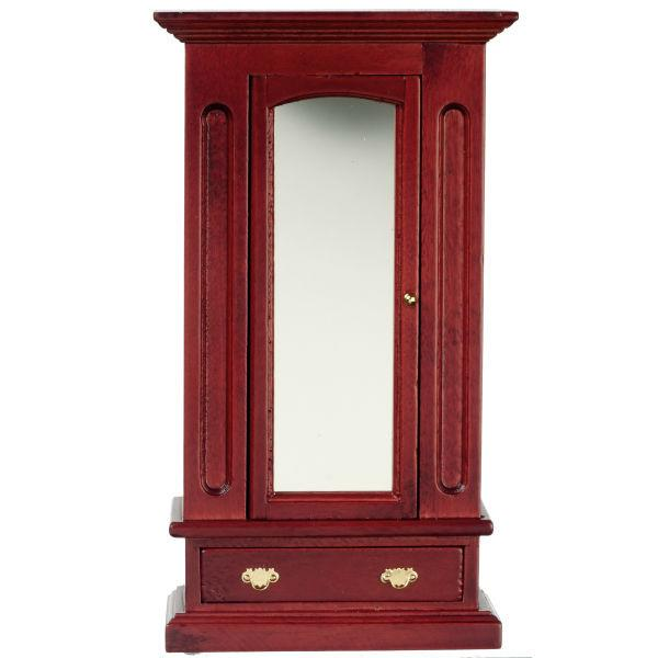 A dollhouse furniture wood armoire with mirror.