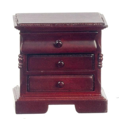 A dollhouse furniture mahogany nightstand.