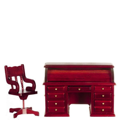 A mahogany dollhouse furniture desk set with rolltop desk and chair.