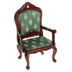 A dollhouse furniture armchair made of green fabric and mahogany-stained wood.