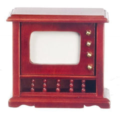 An dollhouse furniture piece that's an old-fashioned television set.
