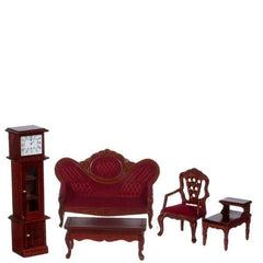 A five-piece Victorian dollhouse furniture living room set made of burgundy fabric and mahogany-stained wood.