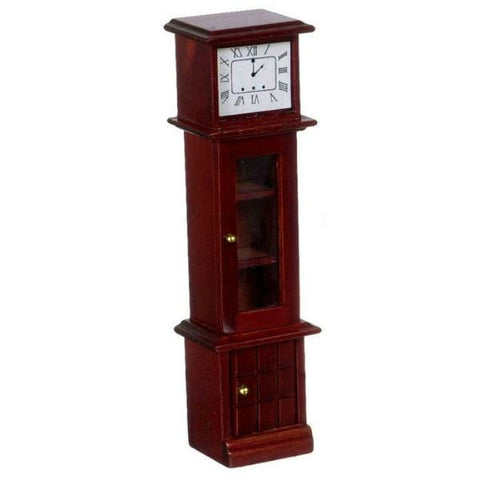 A dollhouse furniture grandfather clock made of mahogany-stained wood.