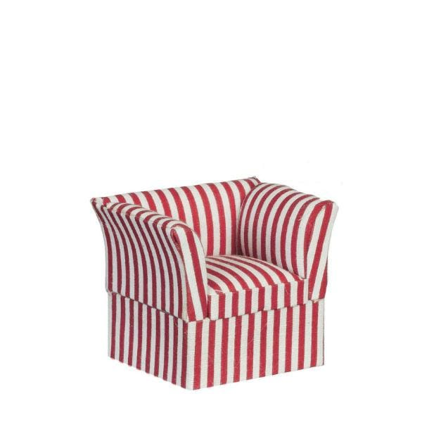 A dollhouse furniture armchair with red and white stripes.