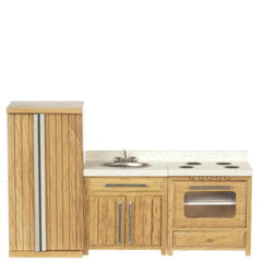 A dollhouse furniture kitchen set consisting of an oak refrigerator, sink, and oven.