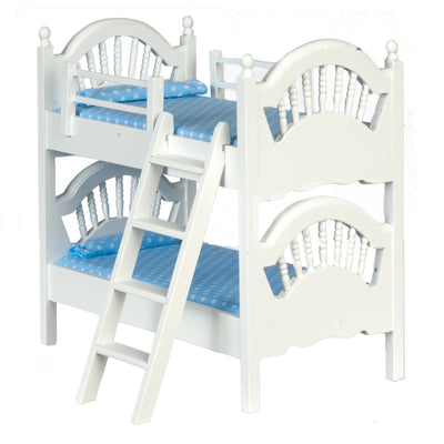 A dollhouse furniture white bunk bed with ladder.