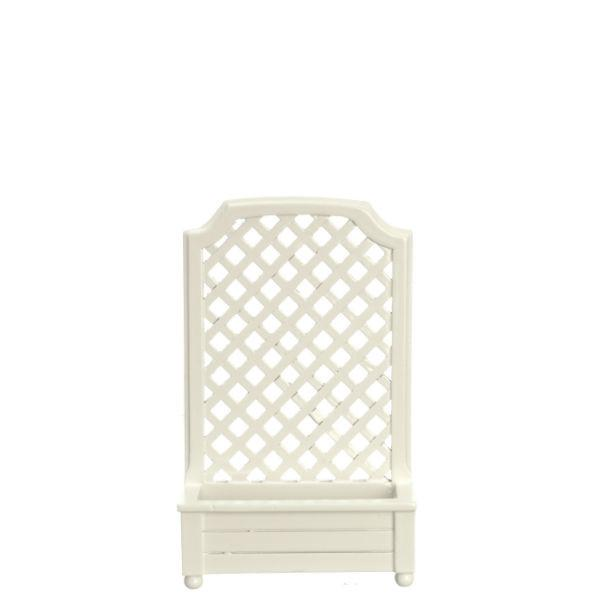 A white dollhouse miniature trellis with planter.