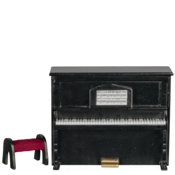 A black dollhouse miniature upright piano with bench.