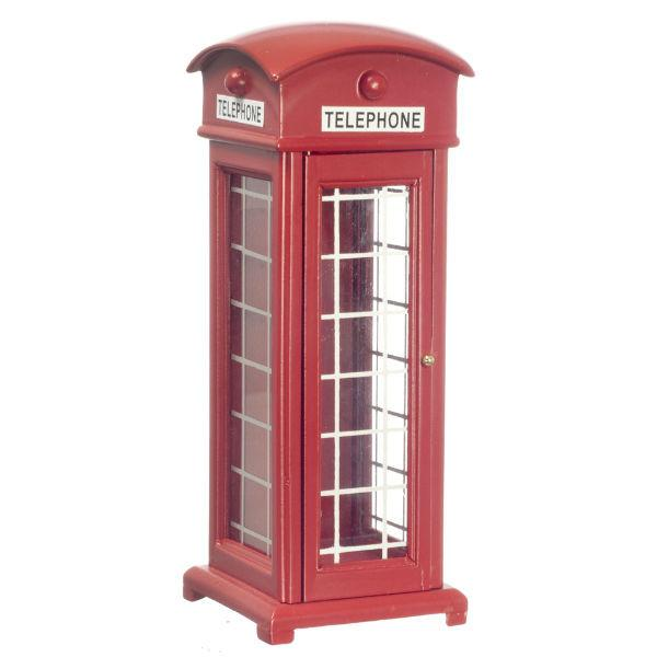 A dollhouse miniature red phone booth.