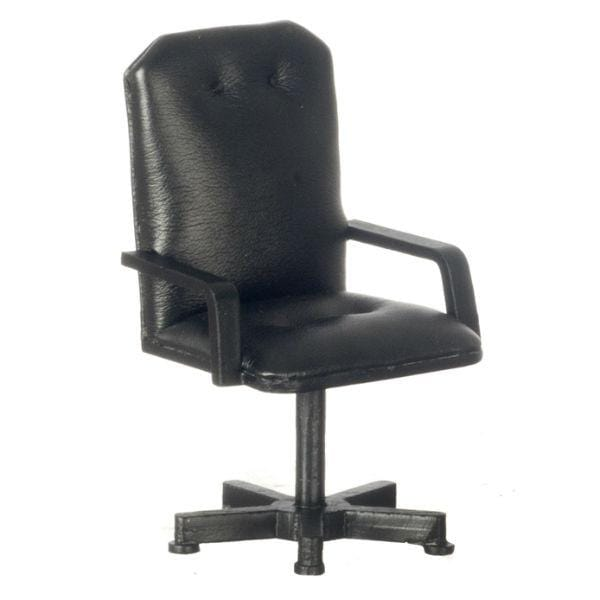 A black dollhouse miniature office chair with faux leather fabric.
