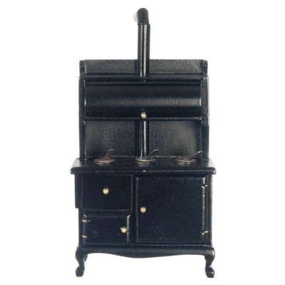 A dollhouse furniture black wood-burning stove.