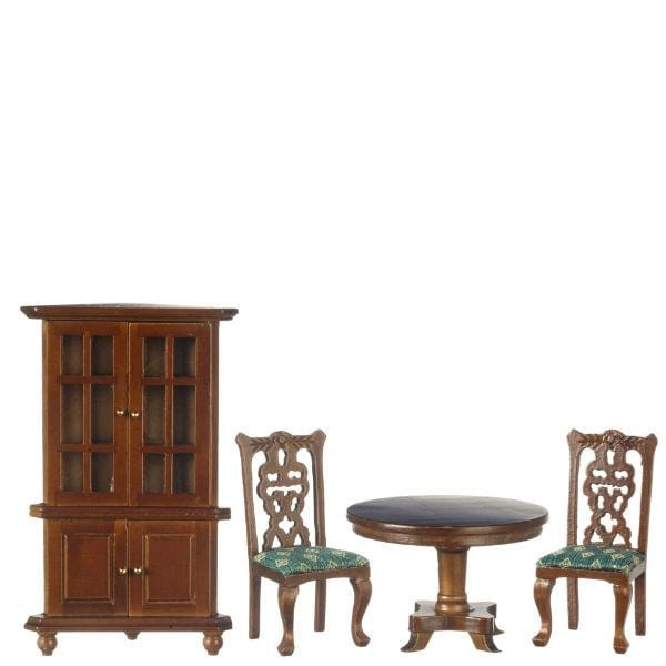 A dollhouse furniture dining set of two chairs, a round table, and a hutch.