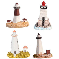 A set of four miniature lighthouse figurines for dollhouses.