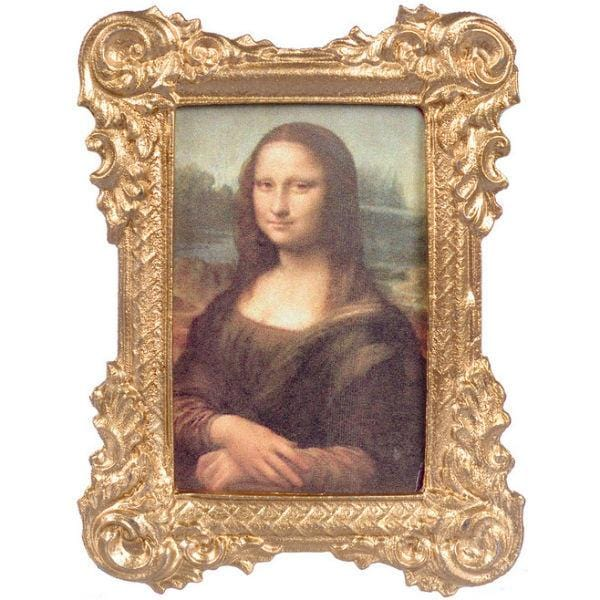 A dollhouse miniature Mona Lisa portrait in a gold frame.