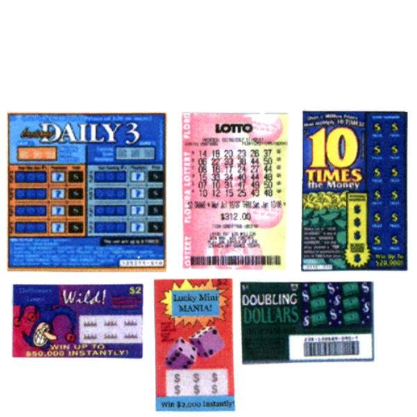 Dollhouse miniature lottery tickets.