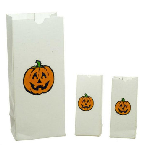 A dollhouse miniature set of Halloween bags.