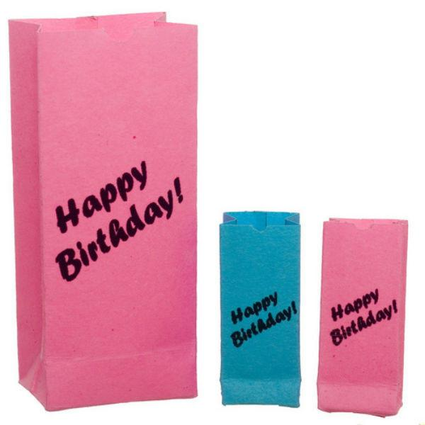 Dollhouse miniature birthday bags.