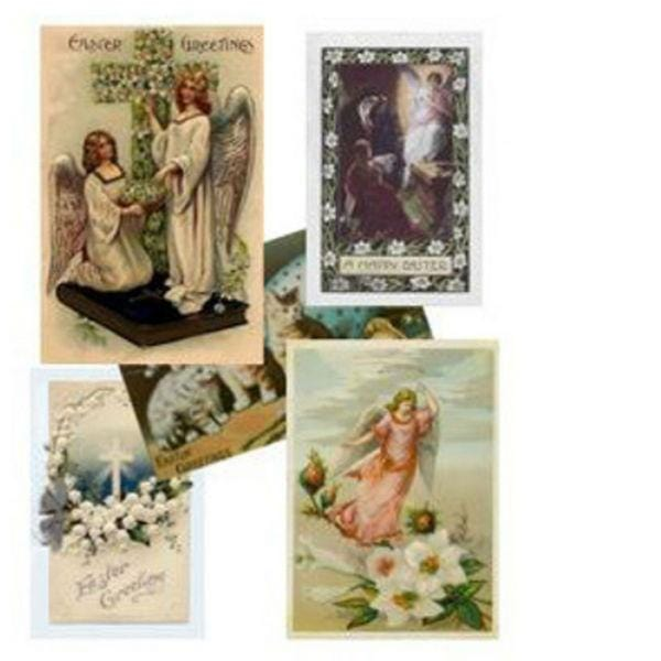 Five dollhouse miniature Easter cards.