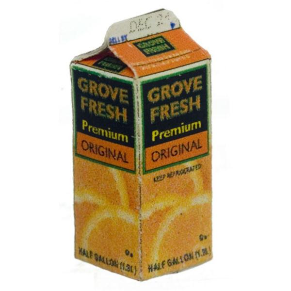 A dollhouse miniature carton of orange juice.