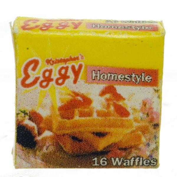 A dollhouse miniature box of waffles.