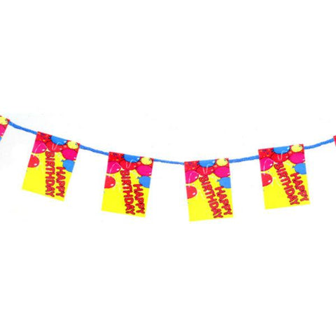 A dollhouse miniature birthday garland.