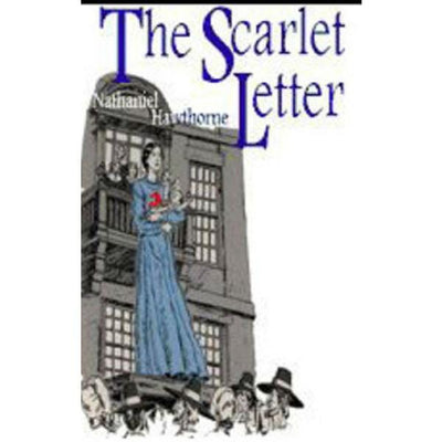 A dollhouse miniature book of The Scarlet Letter with printed pages.