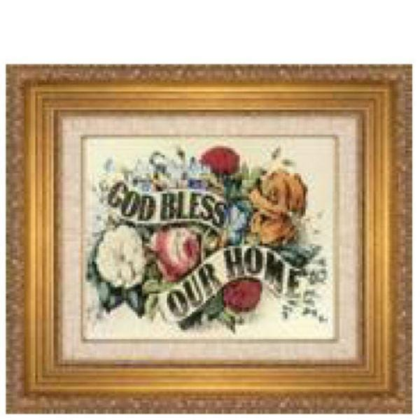 A dollhouse miniature painting that says God Bless Our Home.