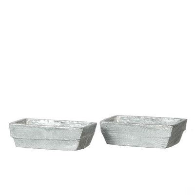 A set of two dollhouse miniature silver loaf pans.