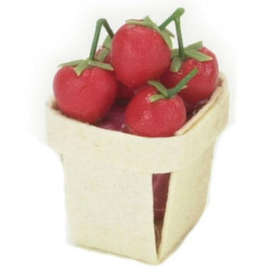 A dollhouse miniature basket of tomatoes.