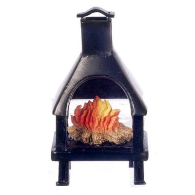 A black dollhouse miniature outdoor fireplace with fire insert.