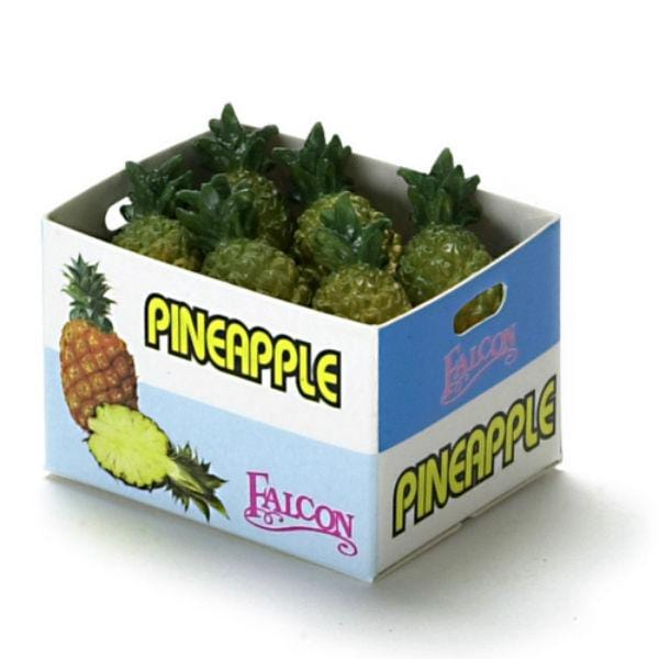 a box of dollhouse miniature pineapple