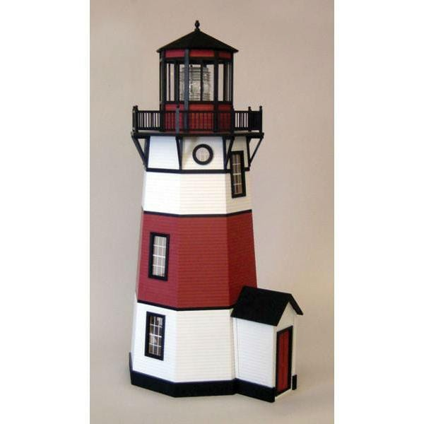 A miniature wooden lighthouse.