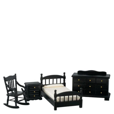 Black dollhouse furniture bedroom set