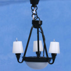 Black Americana Dollhouse Miniature 3-Arm Chandelier