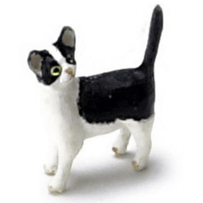 black and white dollhouse miniature cat
