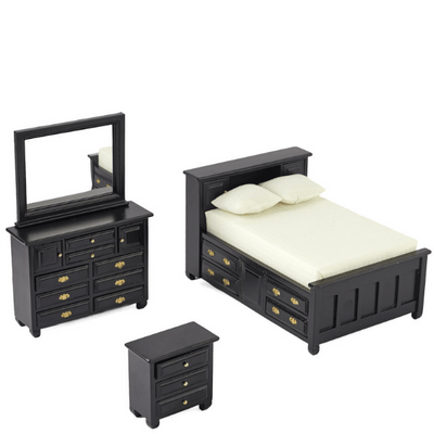 black dollhouse miniature bedroom set
