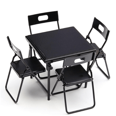 black dollhouse miniature folding chairs and table
