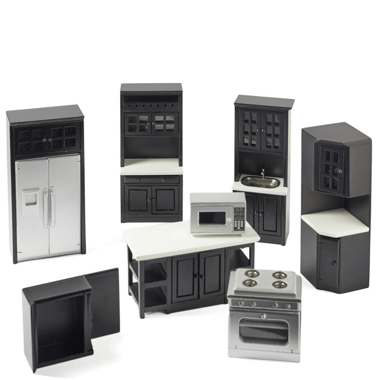 black dollhouse miniature kitchen set