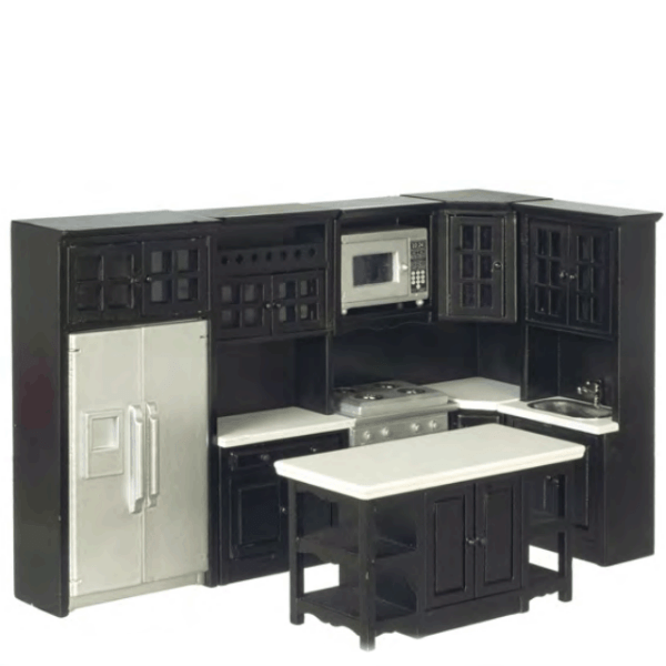 8-Piece Black Dollhouse Miniature Kitchen Set