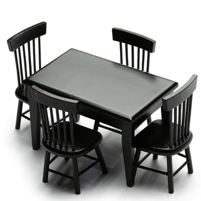 Black 5-Piece Dollhouse Miniature Dining Set