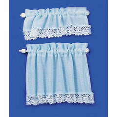 Blue dollhouse miniature cottage curtain.