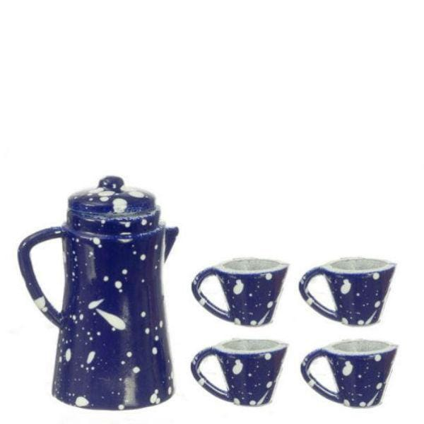 blue dollhouse miniature tea set