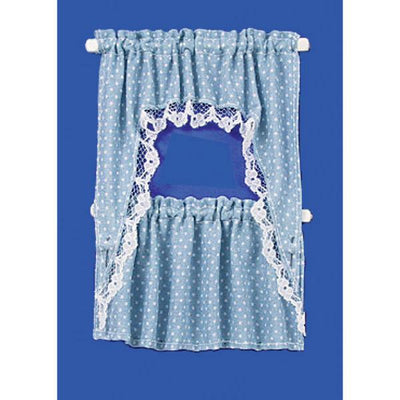 Blue dot dollhouse curtains.
