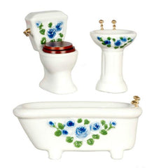 blue floral dollhouse bathroom set